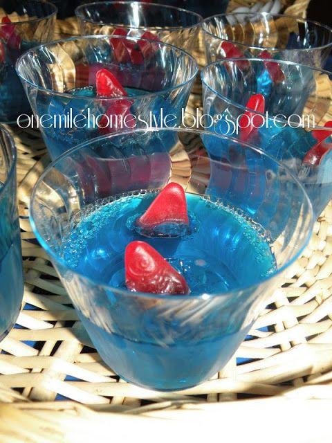 Water theme birthday party - jello and fish treats