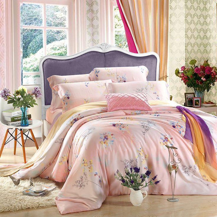 flower tencel silk 4pcs bedding set queenking luxury western duvet cover set with pillow