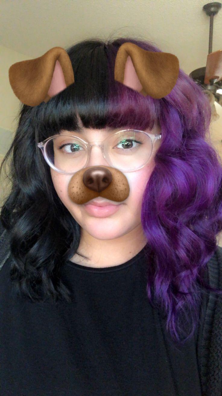 Half Black Half Purple Punky Colur Dye Punky Hair Dyed Hair Purple Aesthetic Hair