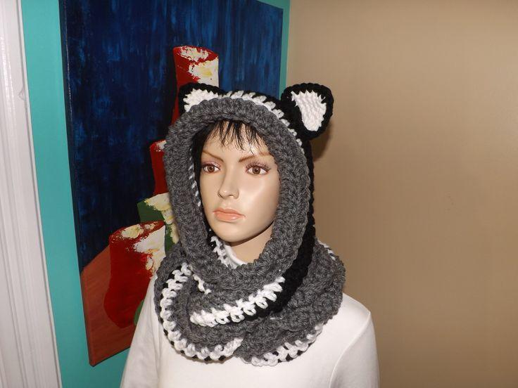 Crochet Bufanda Circular O Infinita Con Capucha y Orejas