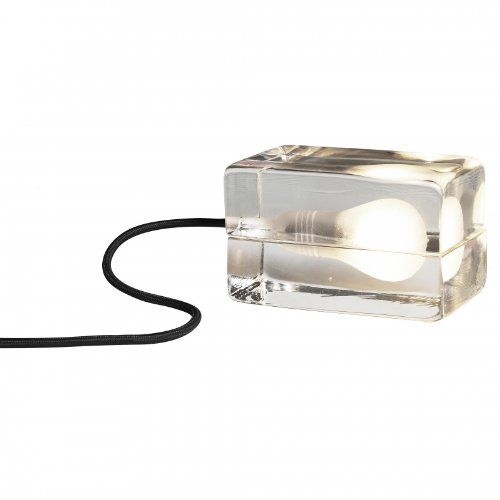 DesignHouseStockholm Block Lamp Tischleuchte, transparent Textilkabel schwarz