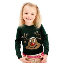 #Renifer Zielony prześliczny #sweterek dla Twojej #pociechy do kupienia na http://swetryswiateczne.pl/pl/