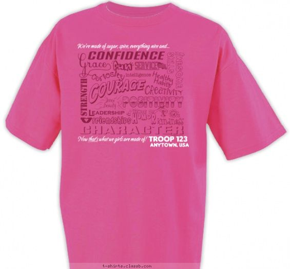 Girl scout strength shirt girl scout troop design sp2477 for Girl scout troop shirts