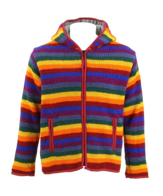 LOUDelephant Chunky Wool Knit Fleece Lined Zip Hoodie - Rainbow