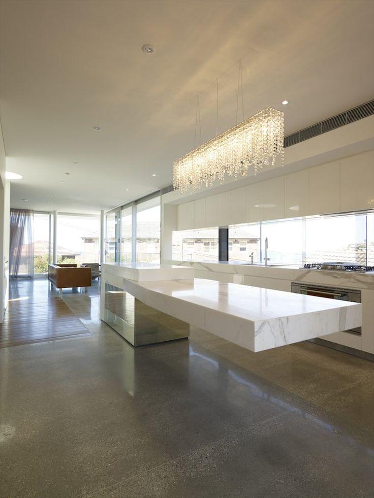 Bronte House, Sydney, 2009-Kitchen-Lights-Marble