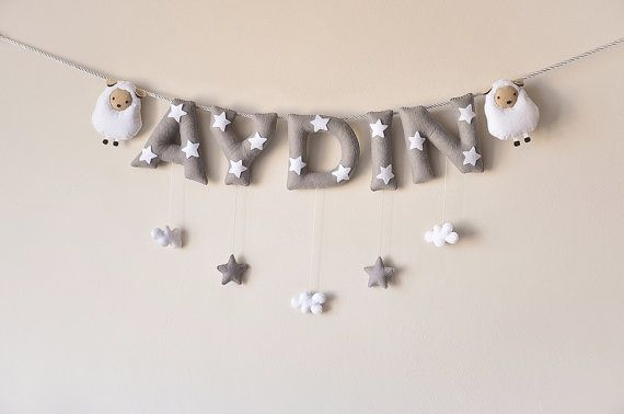 Felt name banner Sheep nursery decor personalized by DreamCreates