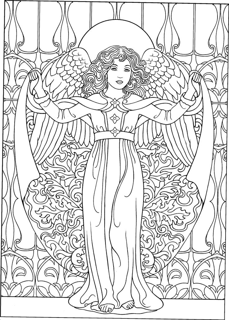 100 best coloring pages to print angels images on for Angel coloring pages