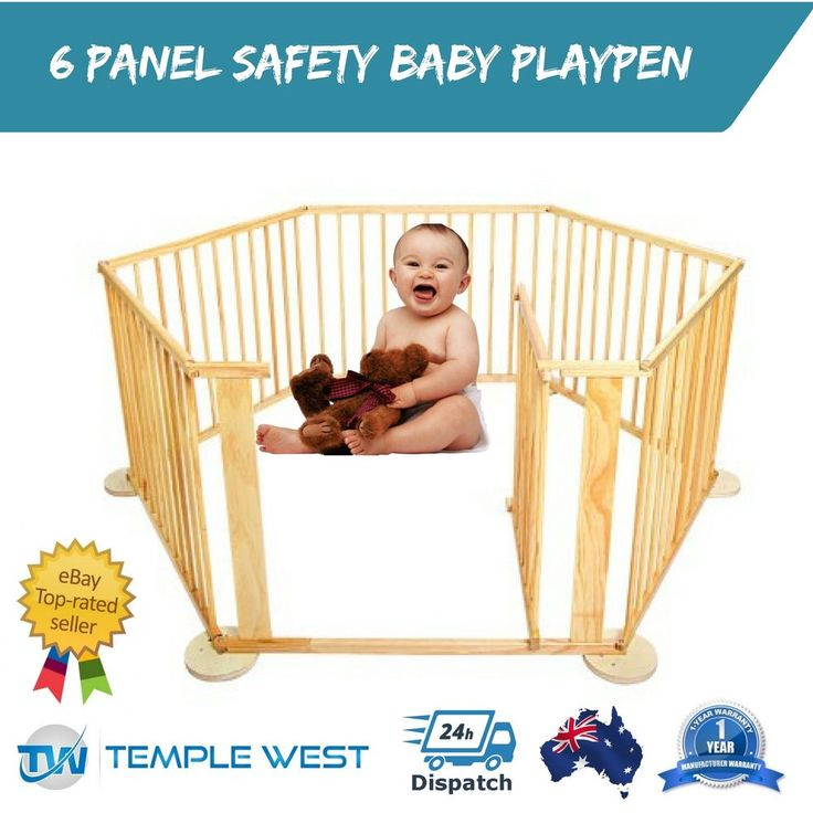 Playpen 6 Panel Wooden Kids Baby Toddler Deluxe Safety Gate Play Area Non Slip