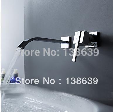 Free shipping Contemporary Modern 2 PCS Wall Mount Bathtub Faucet Set Chrome polished waterfall Bathroom Mixer Tap 6201
