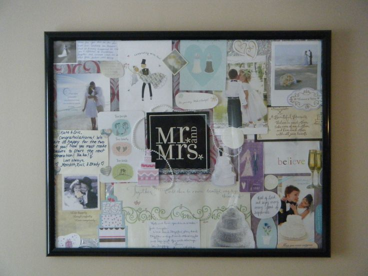 For all the new or soon to be new brides, save all those wedding cards you recieve and make a cute collage out of them, I cut out words of encouragement from friends and grandparents best wishes. Its a great addition to a new home and reminds you to keep trying even on the hardest days!