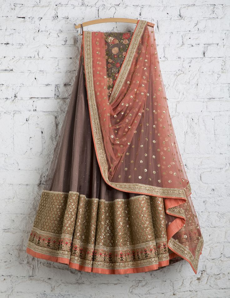 SwatiManish Lehengas SMF LEH 156 17 Warm grey lehenga with peach dupatta and threadwork blouse