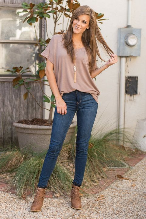 """""""On The Go Tee, Taupe"""" When you're on the go you have to be comfortable in what you're wearing. You want to be comfy, unrestricted and unencumbered. So what should you wear? This loose fitting pocket tee of course!  #Newarrivals #shopthemint"""