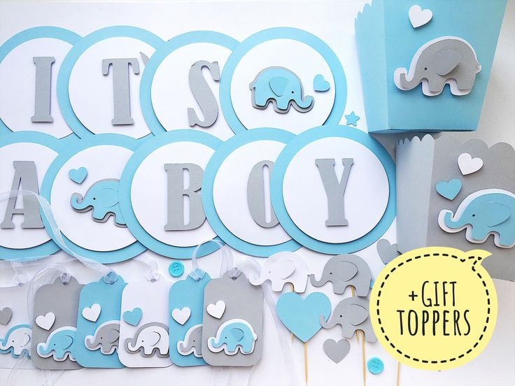 Excited to share the latest addition to my #etsy shop: Blue Gray Baby Boy Shower Decorations Party Kit Elephant Boy 1 st Birthday Banner Popcorn Boxes Favor Tags Its a Boy Banner + GIFT Toppers