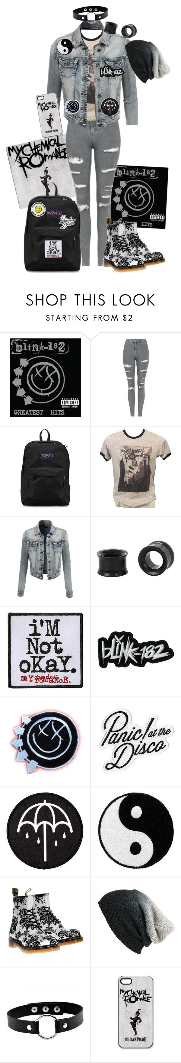 """""""Sleep - My Chemical Romance"""" by chemicalfallout249 ❤ liked on Polyvore featuring Topshop, JanSport, LE3NO, YIN, Dr. Martens and BP."""