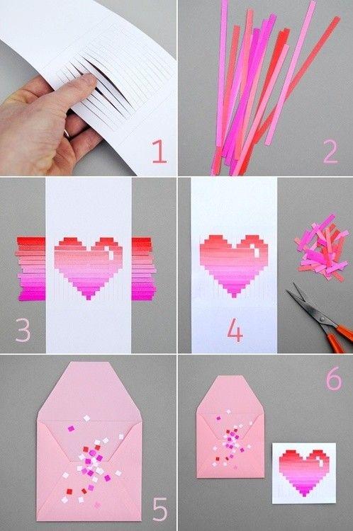 Pixel Art heart card diy