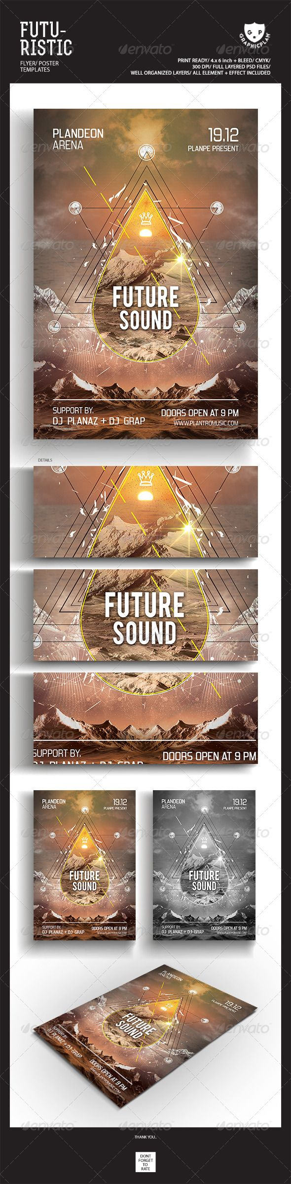 "Futuristic Flyer Poster Templates #GraphicRiver Featured Flyers Flyer Artwork ""Future Sound"" This flyer was designed to promote an Electro / Dubstep / Dance / Drum and Bass / Techno / House music event, such as a gig, concert, festival, dj set, party or weekly event in a music club and other kind of special evenings. This flyer can also be used for a new album promotion or"