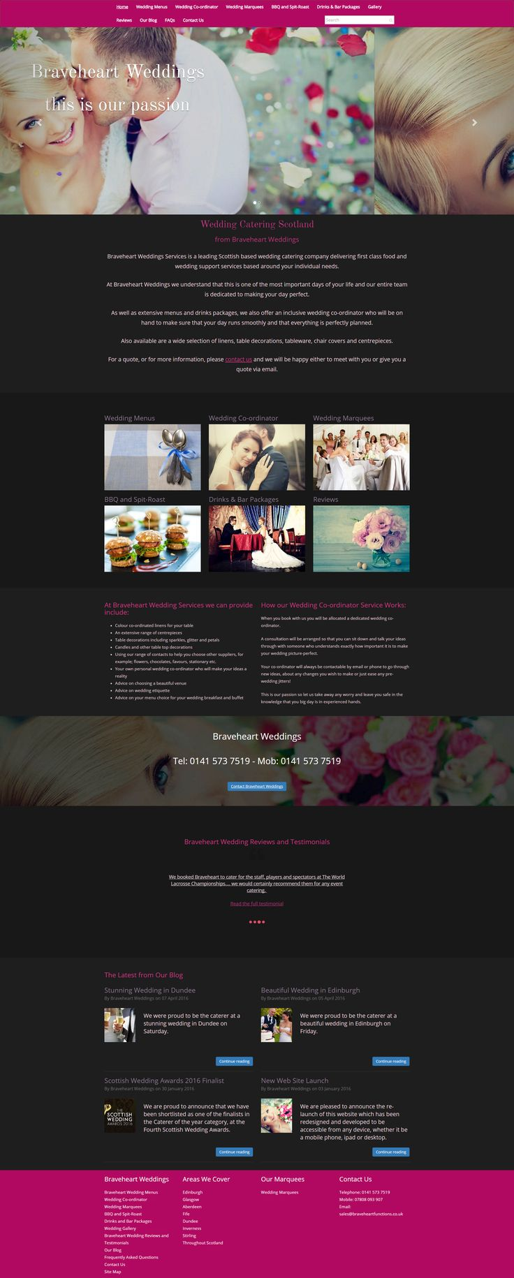 Wedding Catering web site design.   A clean, mobile responsive website built in Bootstrap, using Umbraco CMS as part of my East Kilbride Website Design services, Glasgow, in Scotland.