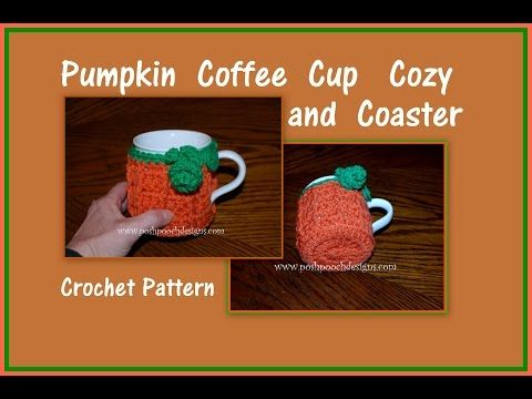Pooch Designs Dog Clothes: Pumpkin Coffee Cup Cozy and Coaster Crochet ...