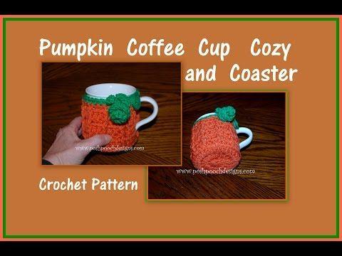 Pooch Designs Dog Clothes: Pumpkin Coffee Cup Cozy and Coaster Crochet ...