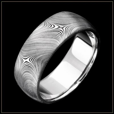 Awesome JET Damascus Steel Mens Wedding Ring with Starlight pattern and the unLINER Commitment