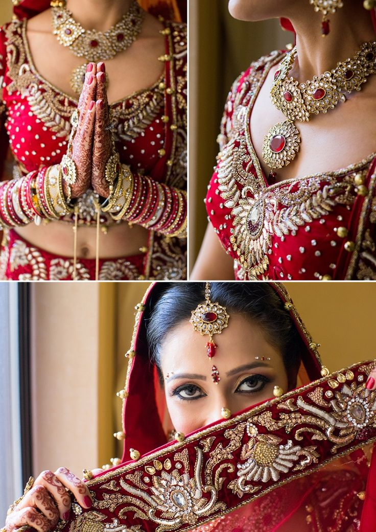 gold and red wedding necklace and tikka Shaadi Belles : Search, Save, & Share your South Asian Inspiration