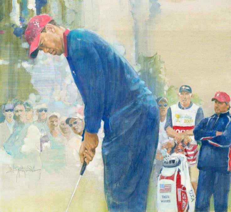 Walt Spitzmiller - Tiger Woods 2009 President's Cup Original oil on canvas