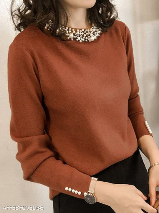 b0892bfd419f Band Collar Beading Plain Knit Pullover in 2019   FASHION TRENDS    Pullover, Fashion, Cheap sweaters