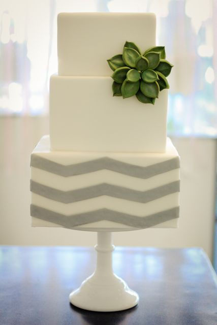 grey chevron and sugar succulent wedding cakeModern Wedding Cake, Chevron Pattern, Wedding Cakes, Chevron Wedding, Green Flower, Yellow Flower, Chevron Cakes, Grey Chevron, Chevron Stripes
