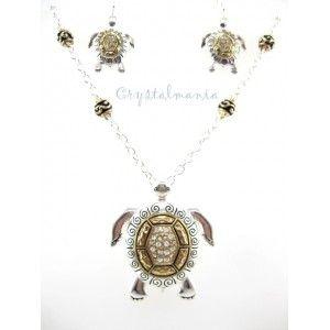 Set de collar y aretes en forma de tortuga en tono dorado y plateado estilo 3202