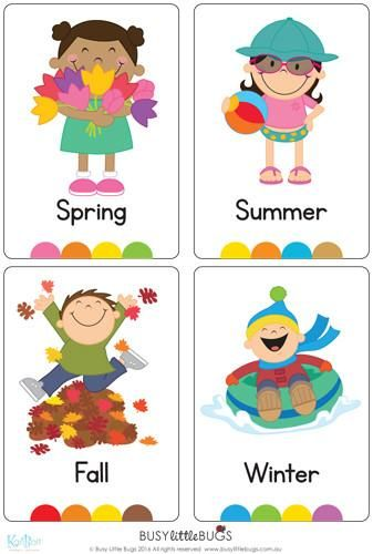 """In our """"Seasons Flash Cards"""" pack, you will find a flash card for every season, also four flash cards for each season with words relating to each such as """"beach, sun cream, kite"""" etc. There are 20 brightly coloured, high quality printable flash cards in this pack."""
