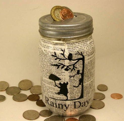 Mason Jar Piggy Bank Coin Bank Rainy Day by organicmountainwoman, $13.00
