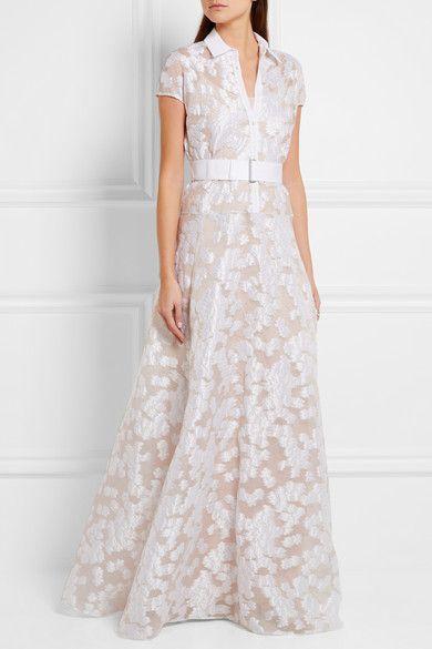 Lela Rose   Belted fil coupé gown   NET-A-PORTER.COM