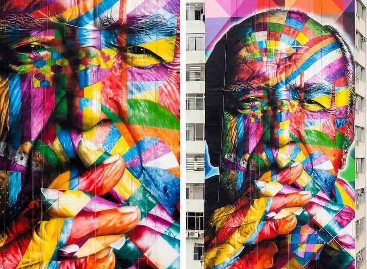 Eduardo Cobra (São Paulo, Brasil): Sao Paulo, Street Artists, By Eduardo, Oscars Niemeyer, Eduardo Kobra, Oscar Niemeyer, Eduardokobra, Streetart