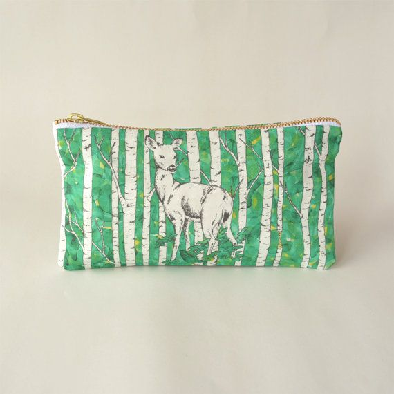 This listing is for a digitally printed, hand sewn deer pencil case developed from original watercolour and pen and ink illustrations by Leanne Shea Rhem and Zac Kenny