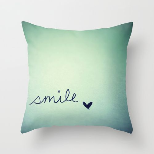 Smile Throw Pillow Cover...thinking this wouldn't be too hard to DIY