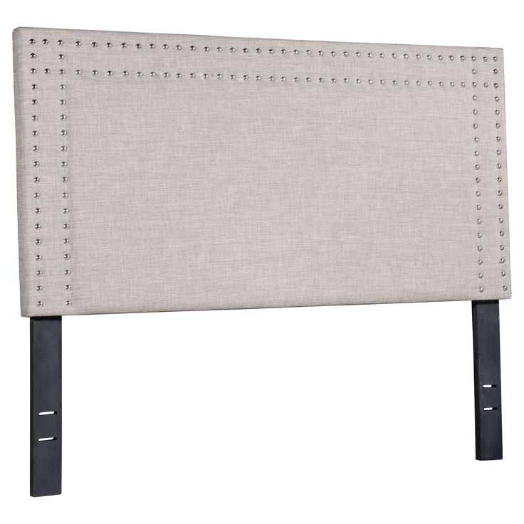 Upholstered Nail Head Full Size Headboard - Dove Gray - ZM Home