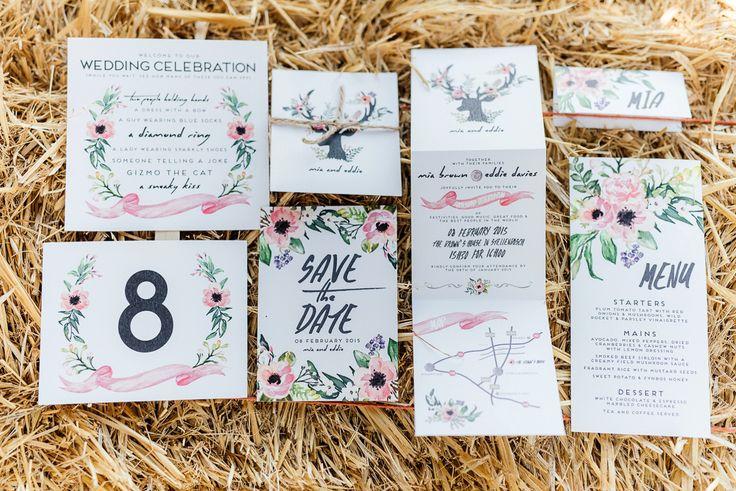 Backyard Wedding inspiration, Bohemian inspired Boho Stationary Stationary with antlers Debbie Lourens Photography