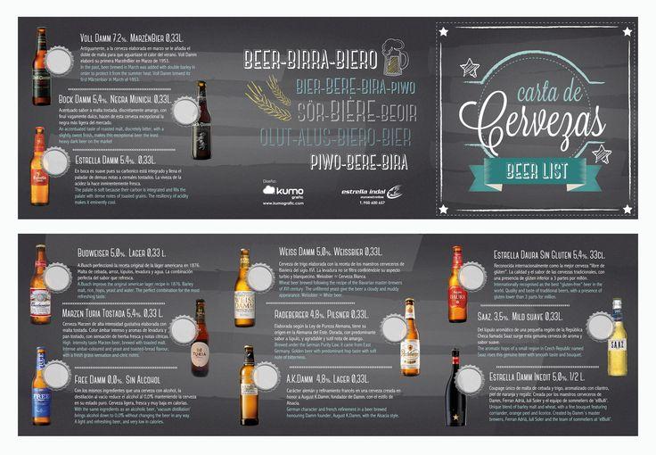 Diseño y maquetación de Carta de Cerveza para los establecimientos de hostelería, clientes de Estrellaindal.