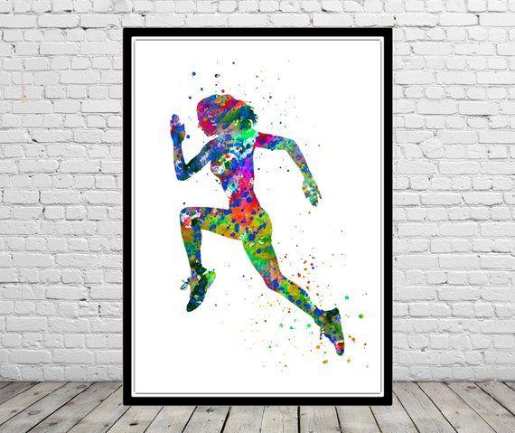 Running Woman Running Sport Woman Sport Running Watercolor Sport Watercolor Sport Woman Runner Jogger Jogging Sport Poster Kostenlos Drucken Aquarell Laufende Frauen