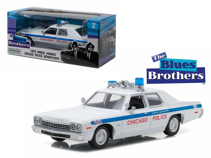 """1975 Dodge Monaco Chicago Police """"The Blues Brothers"""" Movie 1/24 Diecast Model Car by Greenlight - Brand new 1:24 scale diecast 1975 Dodge Monaco Chicago Police """"The Blues Brothers"""" Movie die cast car model by Greenlight. Brand new box. Rubber tires. Has opening doors. Made of diecast with some plastic parts. Detailed interior, exterior, engine compartment. Dimensions approximately L-7.5,W-3,H-2.5 inches.-Weight: 2. Height: 6. Width: 11. Box Weight: 2. Box Width: 11. Box Height: 6. Box…"""