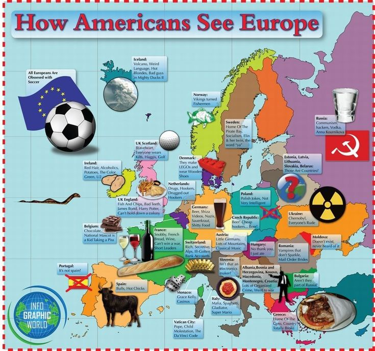 How Europeans Think Americans View Europe More Stereotype Maps