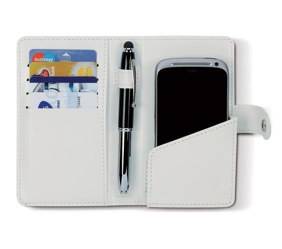 CUSTODIA PER SMARTPHONE YEAR  Custodia per smartphone in similpelle, con scomparto interno porta biglieti da visita e anello porta penna. Chiusura con bottone a pressione.