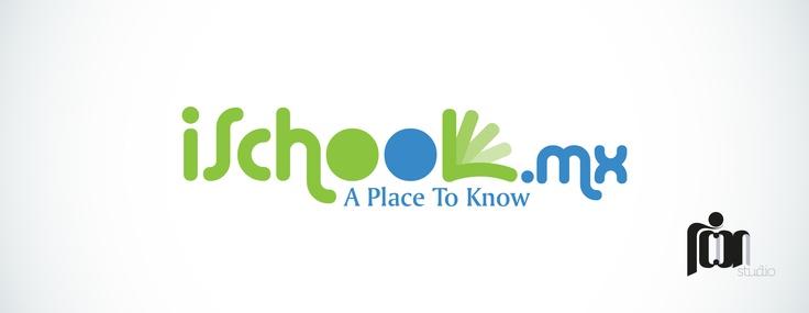 iSchool.mx Logotipo de identidad para empresa mexicana de tecnología inteligente de medios escolares.