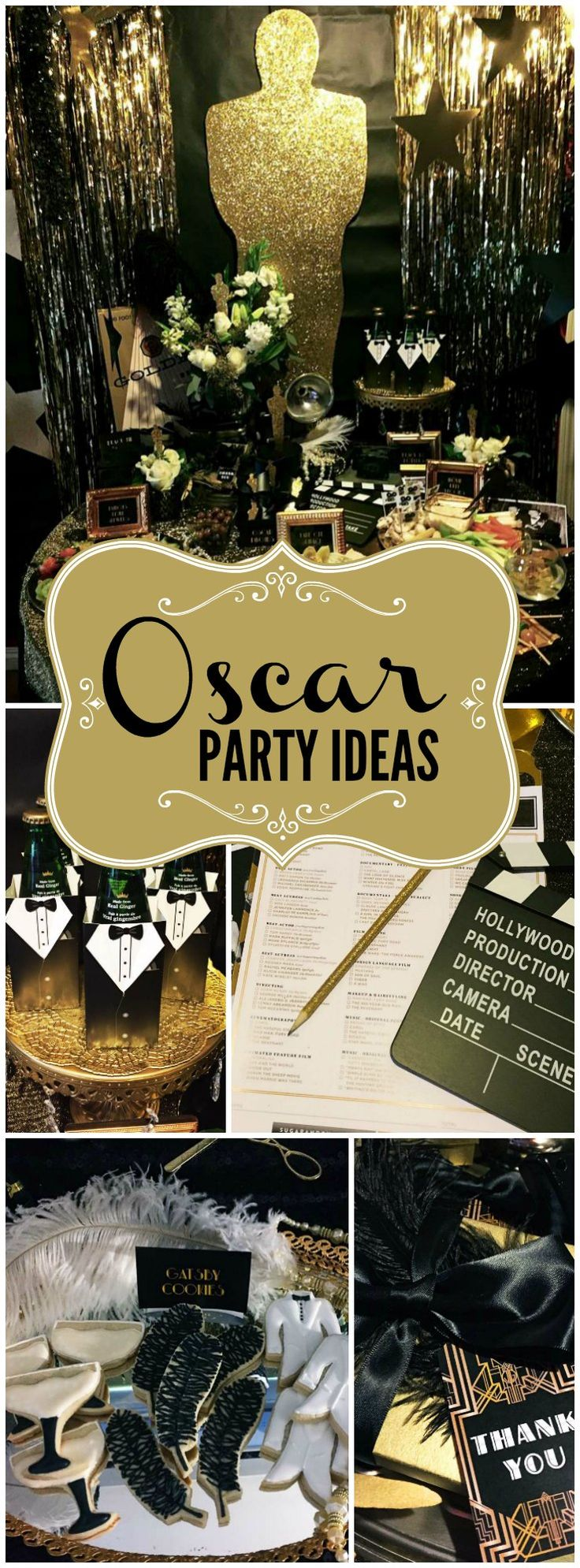 An Oscar party with a Great Gatsby Roaring 20's theme! See more party ideas at CatchMyParty.com!