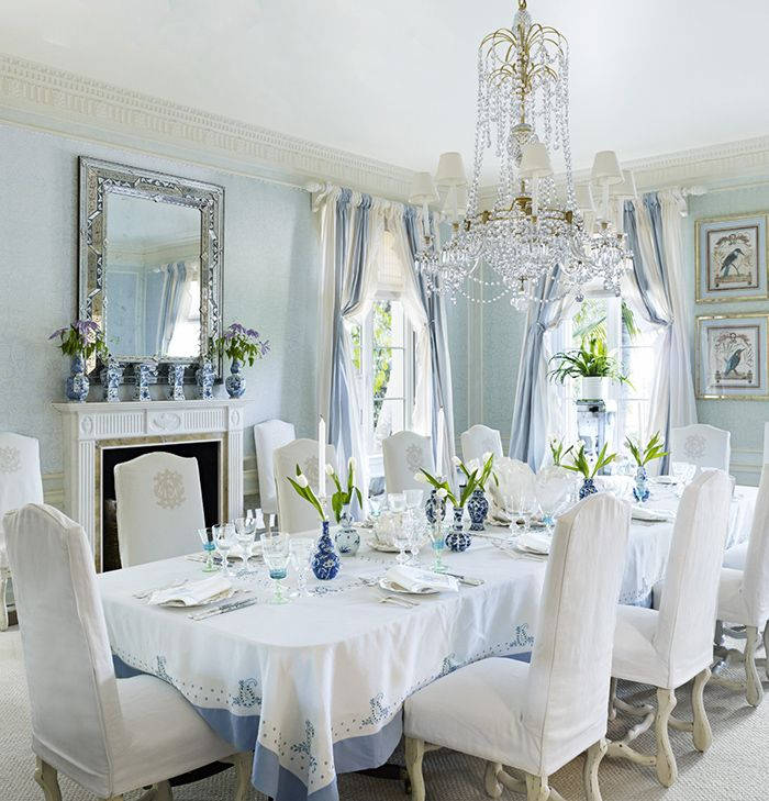 Beautiful Palm Beach Dining Room In Blue And White From The  January/February 2016 Issue