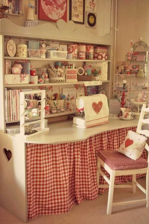 Sewing Room. Sew many pretty and useful ideas here. Nice sewing space, hidden storage, pretty containers...