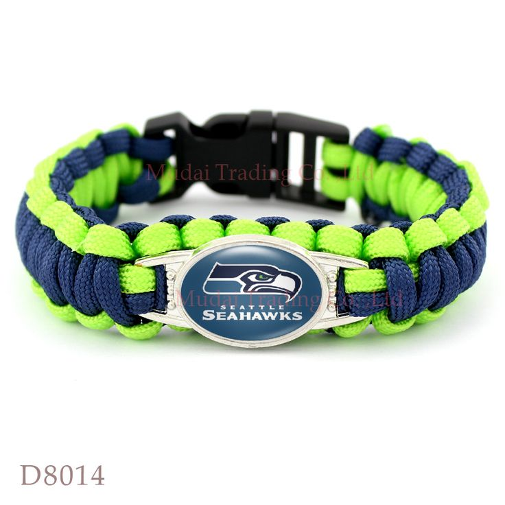 (10 Pieces/Lot) Seattle Football Team Seahawks Paracord Survival Friendship Outdoor Camping Sports Bracelet Navy Blue Green Cord