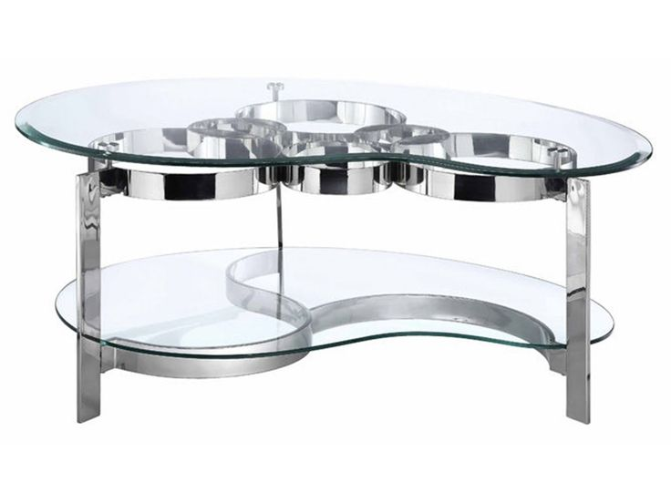 Mesa moderna de cócteles de forma libre con un patrón de timbre de interconexión única bajo un biselado tapa de cristal templado de forma de los duendes maliciosos y marco de acero inoxidable fundido y una base estampada con estante de vidrio con forma.