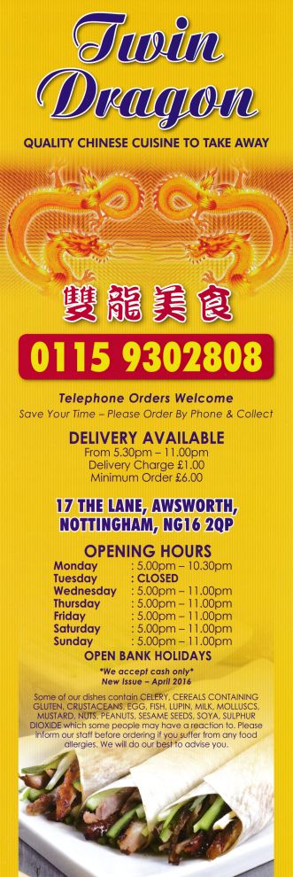 Menu for Twin Dragon Chinese takeaway on The Lane in Awsworth near Ilkeston & Giltbrook NG16 2QP. For the full menu - http://www.menulation.com/twin-dragon-awsworth-takeaway-menu.html #Chinese #food #takeaway #menu #Awsworth #takeawaymenu