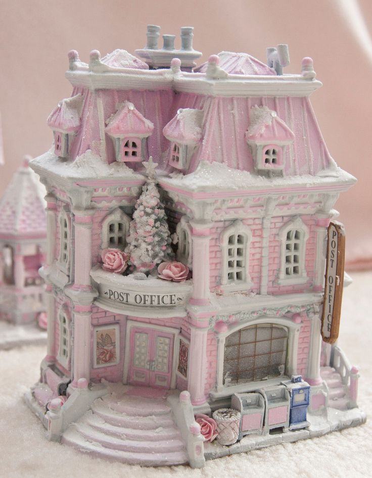Up for Sale Shabby Pink Chic Post Office Christmas Village House Lemax French Country | eBay